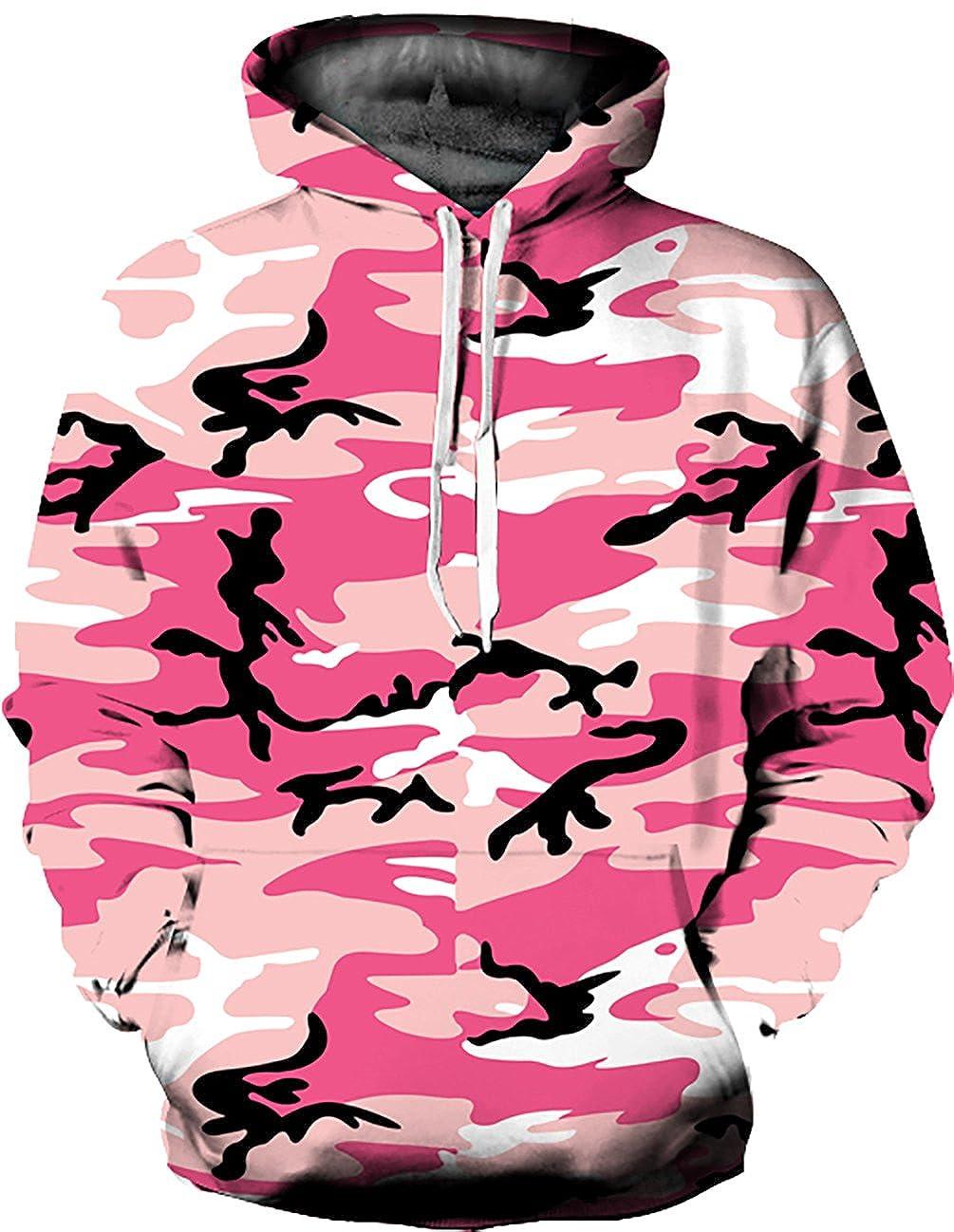 KamiraCoco Unisex 3D Digital Druck Bunte Kapuzenpullover Hoodie Langarm Damen und Herren Cartoon Weihnachten Sweatshirt Pullover