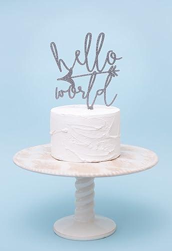 Baby Shower Cake Topper   Hello World Wanderlust Baby Cake Topper For Baby  Shower In Wood