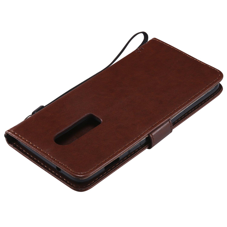 Lomogo Coque OnePlus 6 Housse en Cuir Portefeuille avec Porte Carte Fermeture par Rabat Aimant/é Anti Choc Etui de Protection pour OnePlus6 LOKTU22426 Or