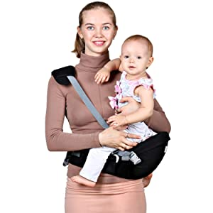 Baby Hip Seat Carrier Waist Stool – Safety Certified Back Pain Relief Soft Carrier (Ergonomic M Position), 100% Cotton for All Seasons, Child Infant Toddler, Perfect Baby Shower Gift