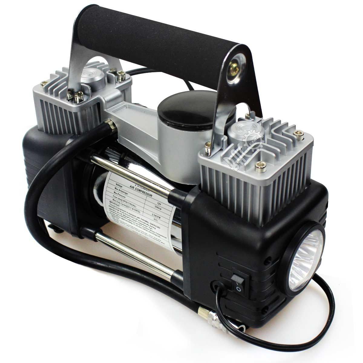 12 Volt Druckmanometer+ Reifen-Reparatursatz+ LED Taschenlampe+ tragbare Tasche 150 PSI BACOENG 2-Zylinder Auto-Kompressor