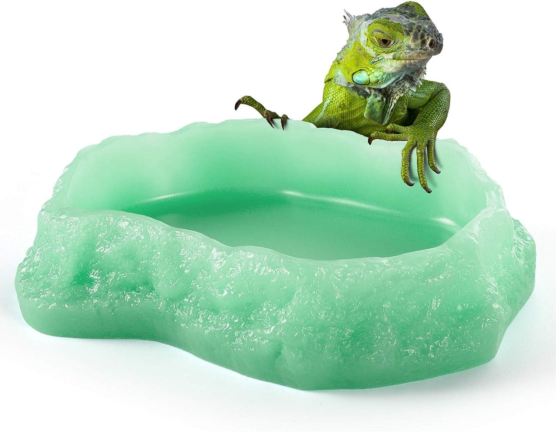 Reptile Food Water Bowls - Luminous Amphibian Feeding Dish, Resin Rock Worm Feeder Terrarium for Lizards, Chameleon, Leopard Gecko, Frog, Bearded Dragons, Snake, Hermit Crabs, Turtle Spider Pet