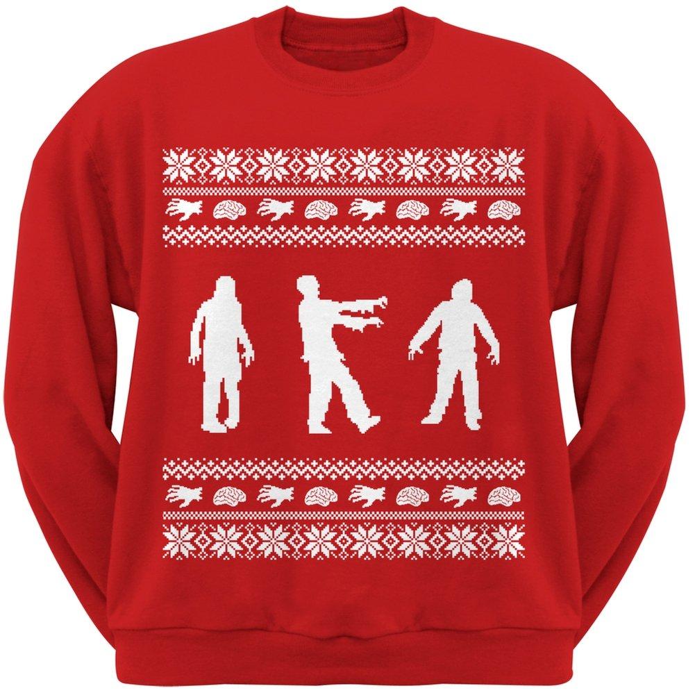 Zombie Ugly Christmas Sweater Red Adult Crew Neck Sweatshirt