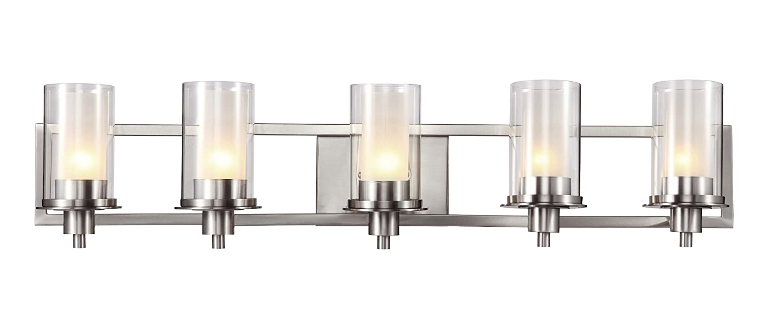 Trans Globe Lighting Square Five Light Wall Bar Nickel - Chrome 5 light bathroom fixture