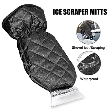 Ice Scraper with Glove Heavy-duty Frost /& Snow Removal for Car Windshield and Window Warming Soft Lined Mitt with Closing Elastic Wristband Ice Scraper for Car