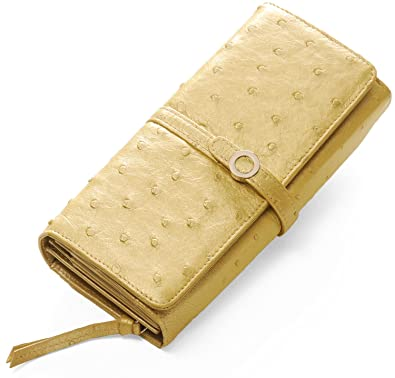 029db38b1541 オーストリッチ レザー 多機能 フラップ かぶせ 長財布 レディース : シャンパンゴールド
