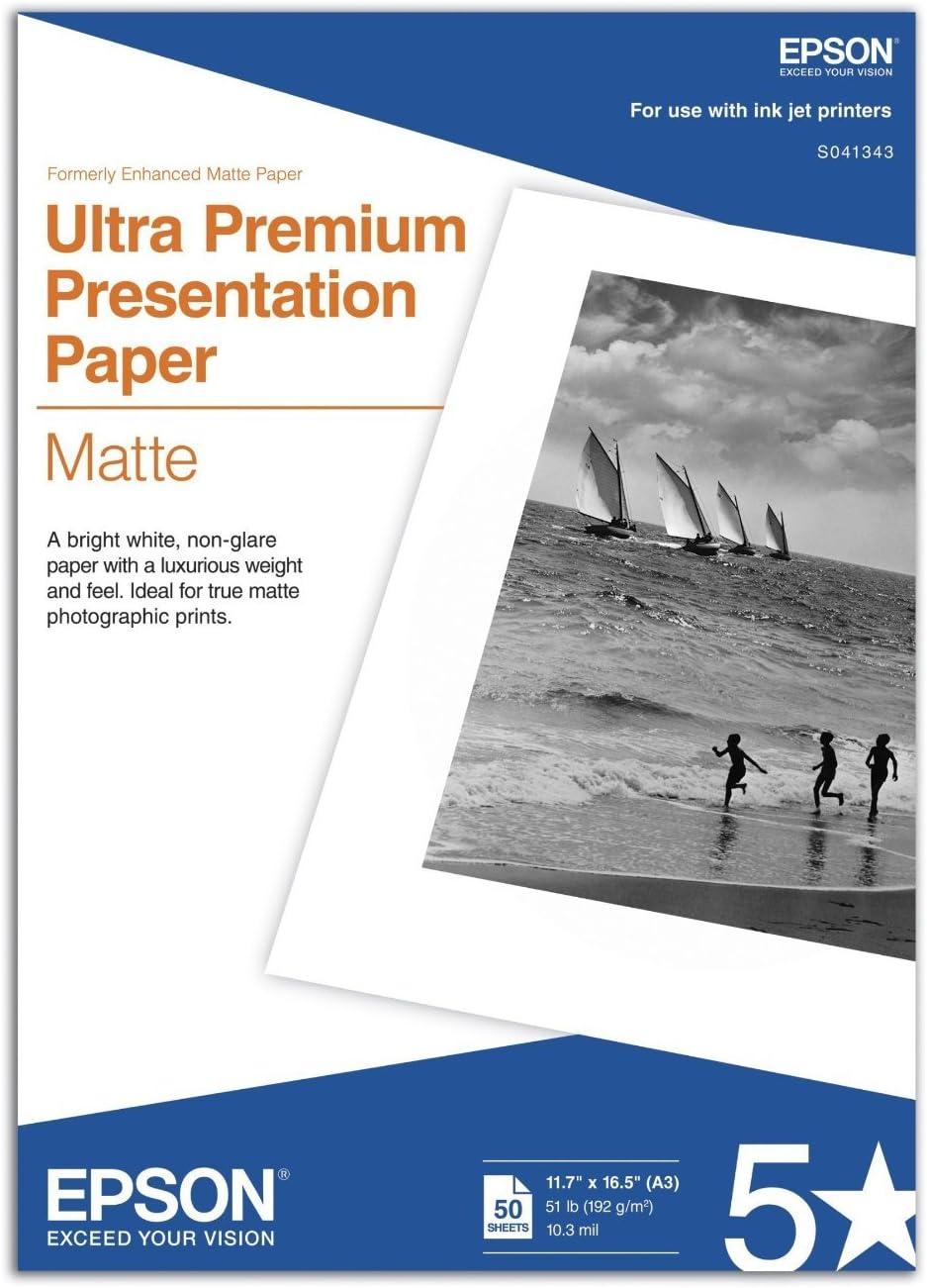 11.7x16.5 Inches 50 Sheets S041260 Epson Premium Presentation Paper MATTE
