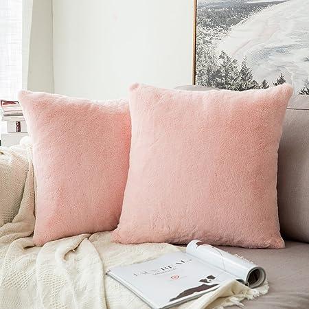 Pack de 2, miulee muy suave lujo advertir serie sintética piel de conejo manta funda de almohada Funda de cojín para sofá dormitorio coche 18 x 18 (45 x 45 cm): Amazon.es: Hogar