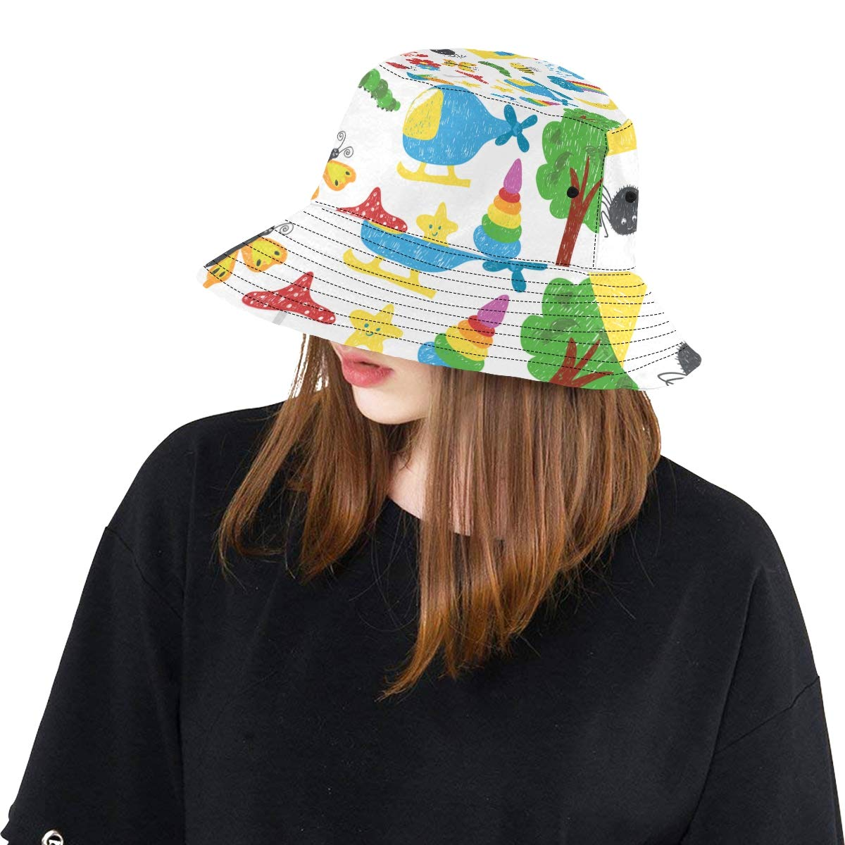 Colored Kid Drawing Children Love Painting New Summer Unisex Cotton Fashion Fishing Sun Bucket Hats for Kid Teens Women and Men with Customize Top Packable Fisherman Cap for Outdoor Travel