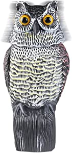 Fake Owl Sculpture with Rotating Head