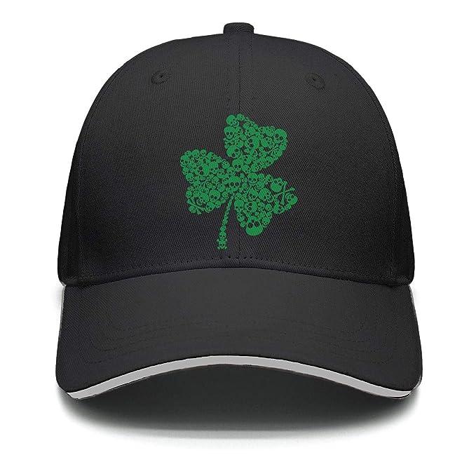 3ac6df6905a78 Unisex Retro Green Irish Distressed Shamrock St Patricks Day Skull Clover  Caps Summer Outdoor Strapback Hat