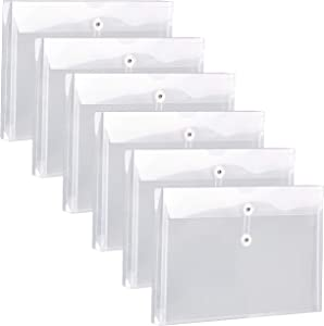 """FANWU Plastic Legal Size Envelopes with String Tie Closure, 1-1/4"""" Expansion, Side Load, Clear File Folders Poly Project Paper Documents Puzzle Organizer for Office School Home (White-6 Pack)"""