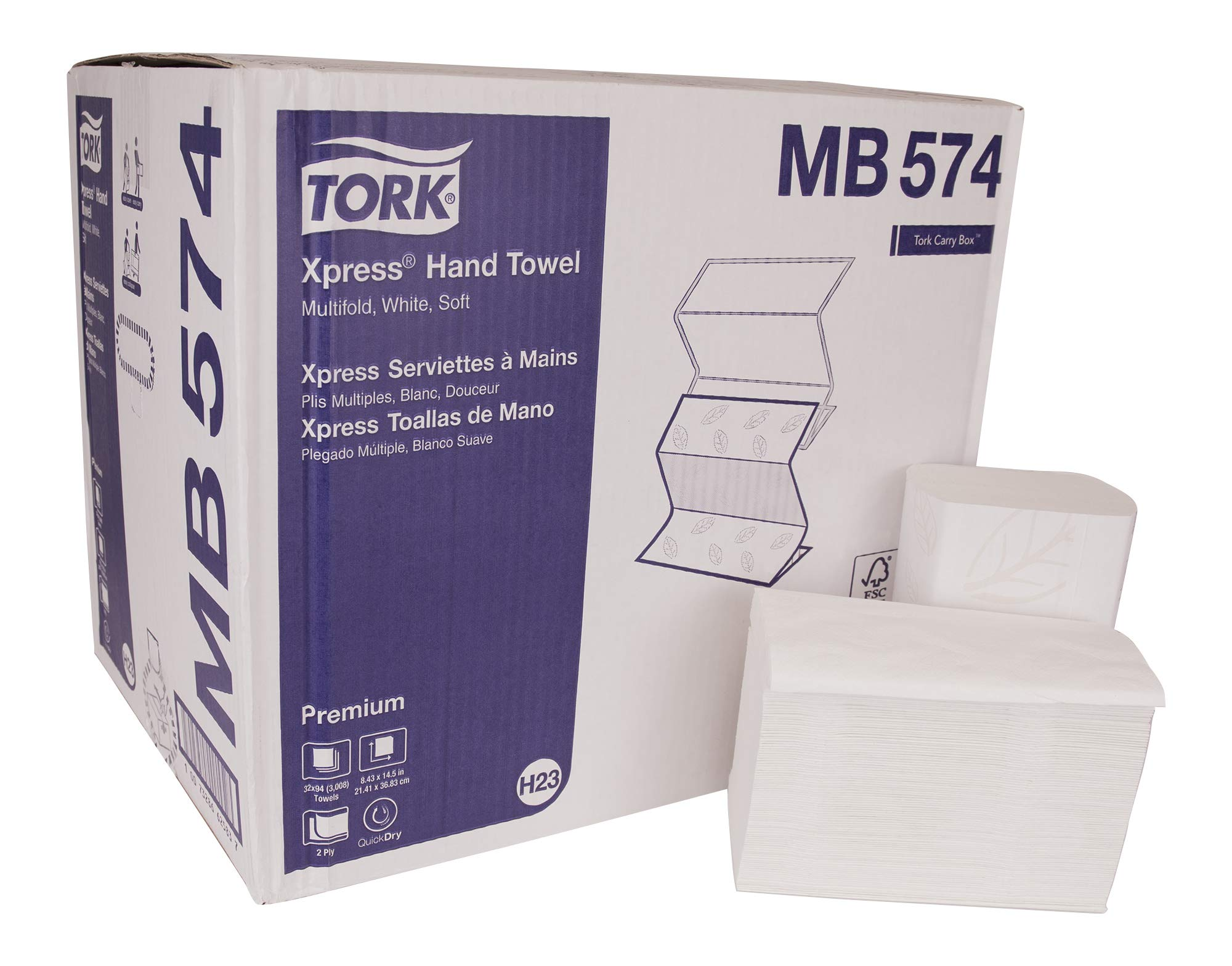 Tork Premium MB574 Soft Xpress Multifold Paper Hand Towel, 4-Panel, 2-Ply, 8.4'' Width x 14.5'' Length, White (Case of 32 Packs, 94 per Pack, 3,008 Towels)