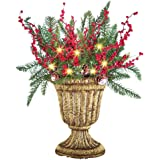 Floral Greenery Topiary Vase Solar Christmas Decoration