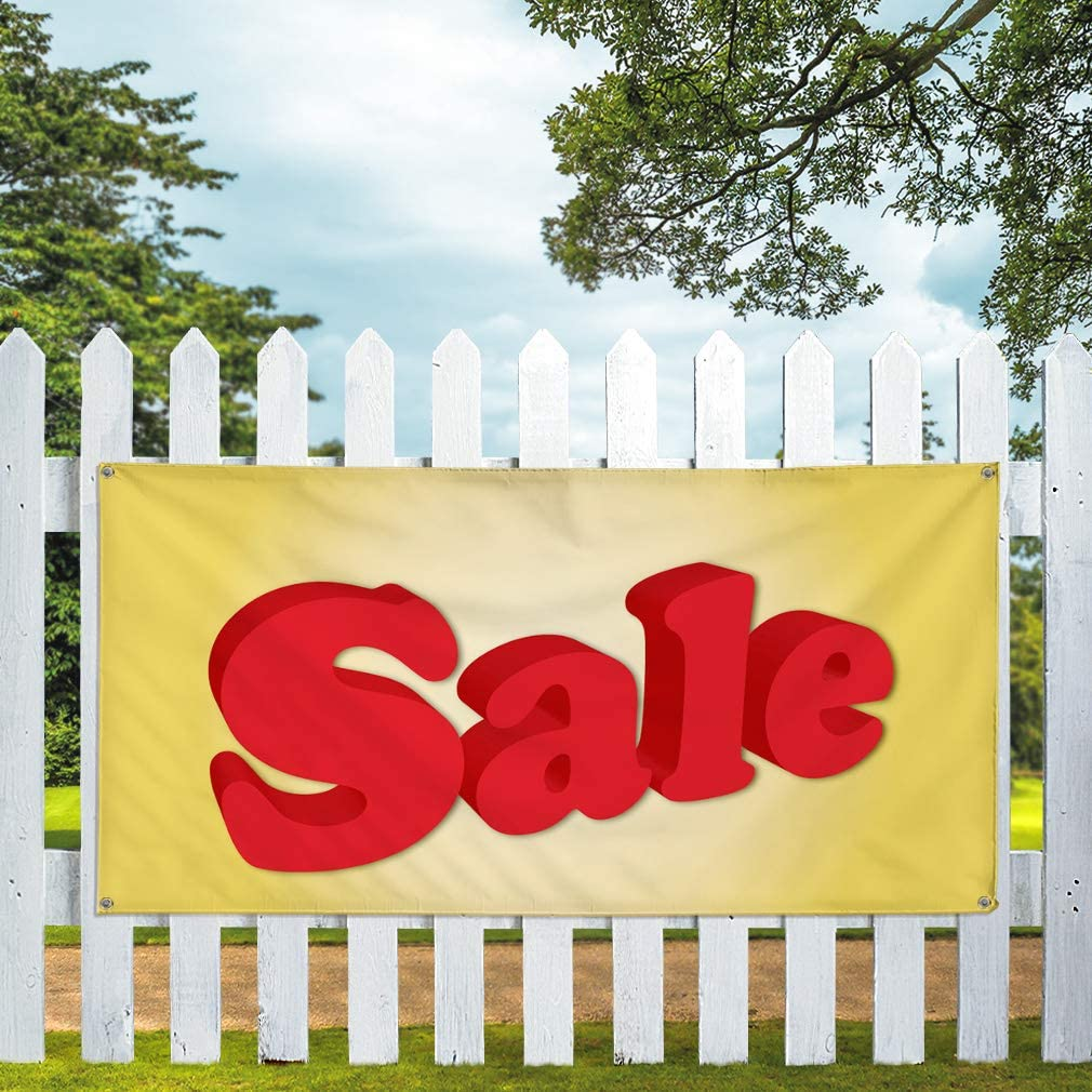 One Banner 8 Grommets 48inx96in Multiple Sizes Available Vinyl Banner Sign Sale #1 Style Q Business Outdoor Outdoor Marketing Advertising Red