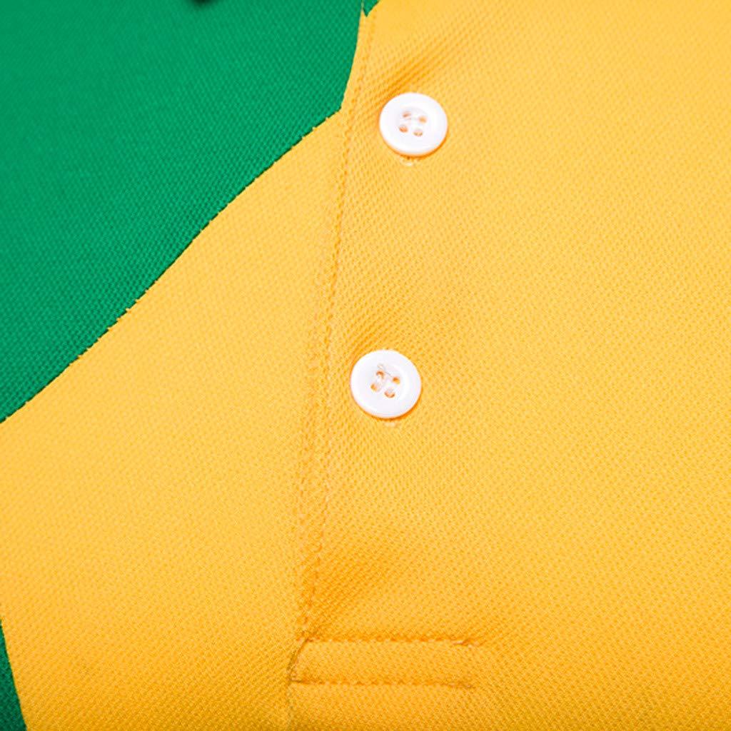 LEKODE T-Shirt Fashion Mens Stand Collar Stripe Splice Short Sleeve Top Blouse