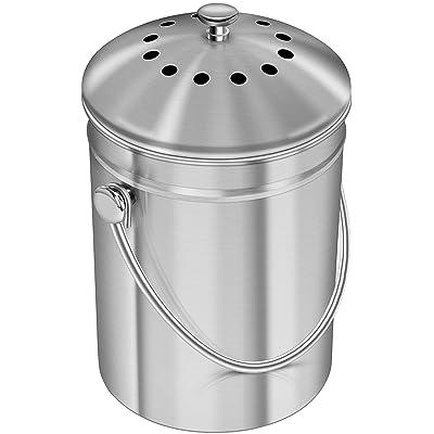 1,3 gallon Bac à compost en acier inoxydable de avec filtre au charbon de bois - Utopia Kitchen