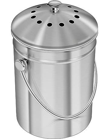 Utopia Kitchen Recipiente de compostaje de acero inoxidable para encimera de cocina - Cubeta de compostaje