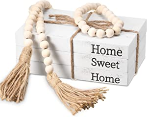 3 Pieces Decorative White Books Set Wood Book Stacks Rustic Farmhouse Decor Decorative with Twine, Wood Bead Garland with Tassels 58 Inch for Living Room Shelf (Home, Sweet, Home)