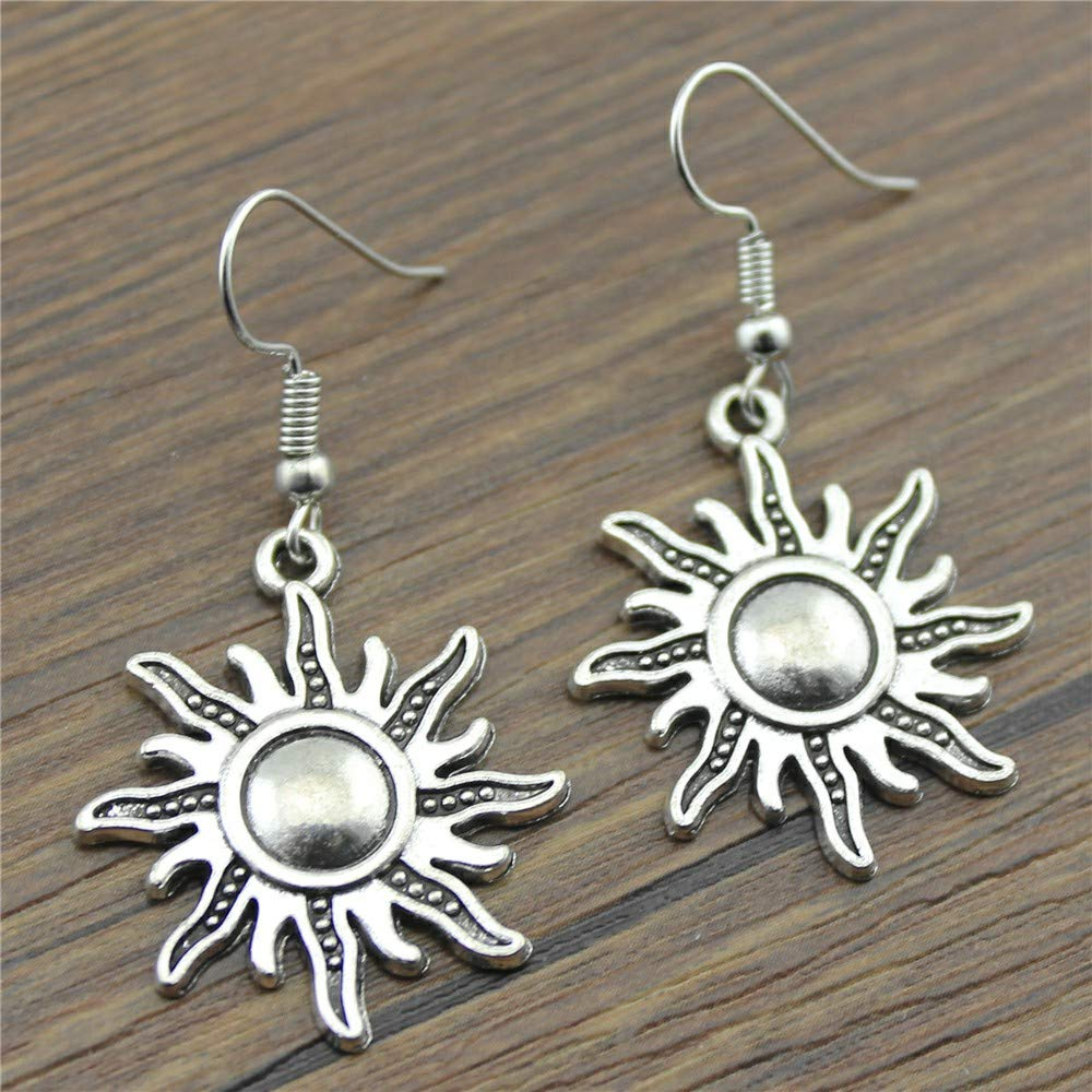 WYSIWYG 3 Pairs Drop Earrings Jewelry Earrings Findings Sun 28x25mm with Earring Backs Stopper