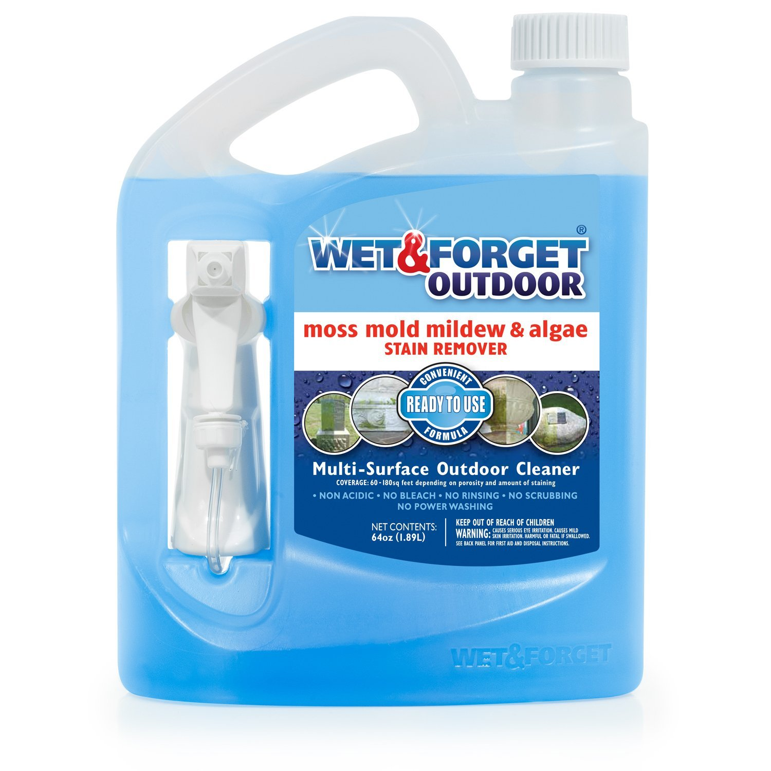 -WET & FORGET- Outdoor Ready to Use Moss, Mold, Mildew & Algae Stain Remover, 64 OZ.