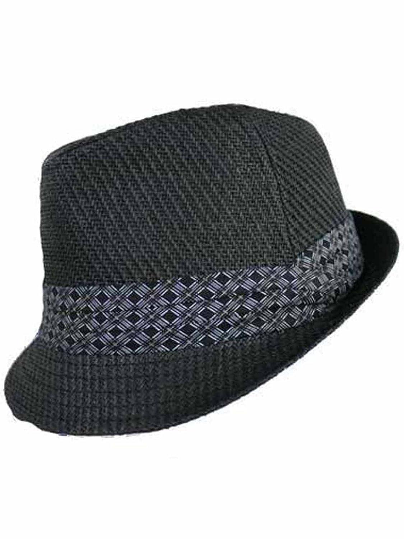 Luxury Divas Black Woven Straw Fedora Hat at Amazon Men s Clothing store  9a6cc9b80c5
