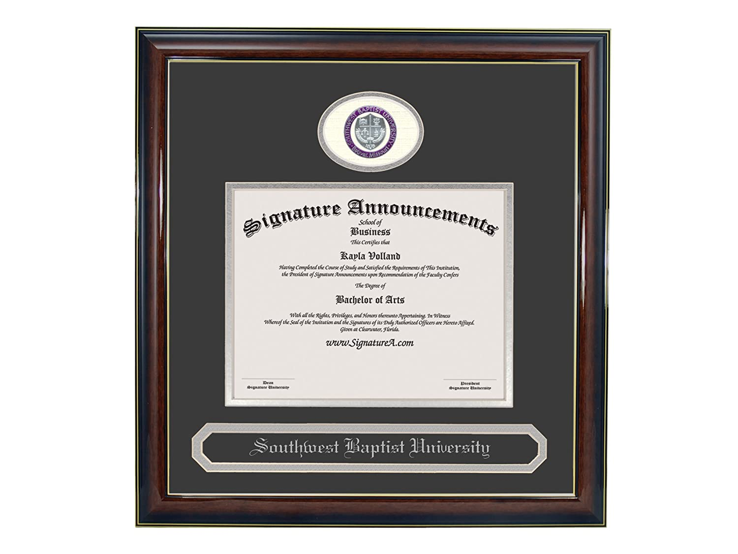 Signature Announcements Southwest Baptist University Undergraduate Sculpted Foil Seal /& Name Graduation Diploma Frame 16 x 16 Gloss Mahogany with Gold Accent