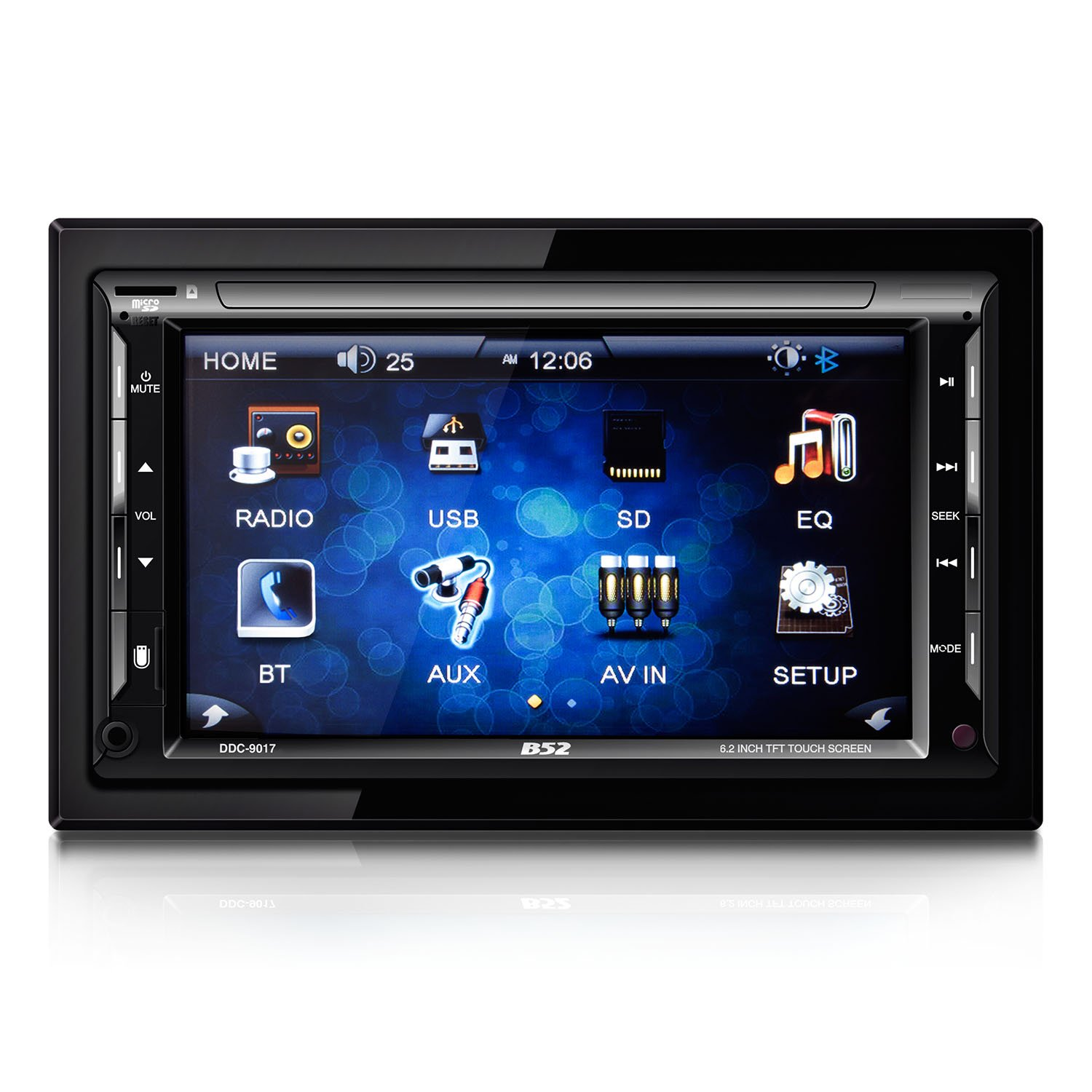 B52CarAudio DDC-9017 In-Dash DVD Receiver with 6.2'' TFT Touchscreen Display, Bluetooth Connectivity and SD/USB Receiver