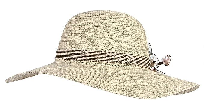 Sombrero De Paja Mujer Verano Solar Protector Ocio Sombrero Para El Sol  Años 20  Amazon.es  Ropa y accesorios 183a643cf93