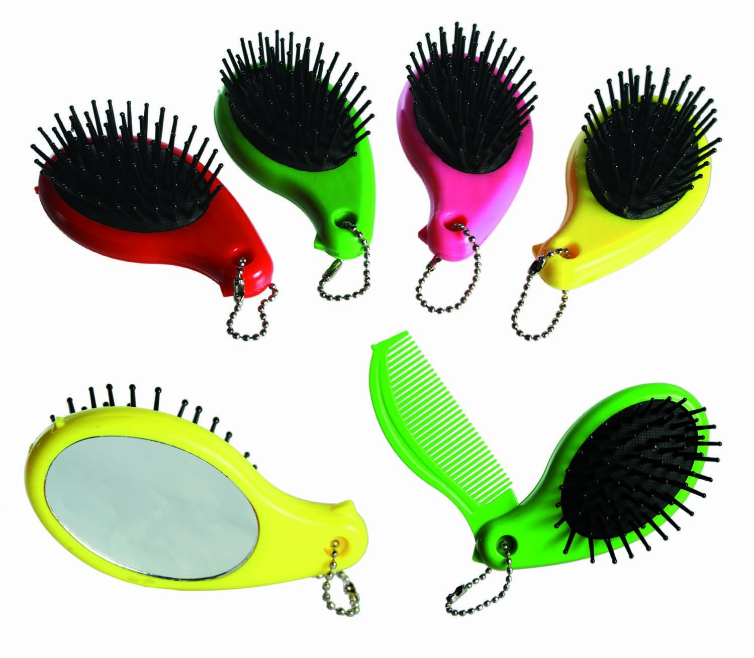 Small & Compact - Pink Compact Hairbrush with Integrated Comb & Mirror - Girl Girls Child Children Kids Great Idea for Christmas Stocking Filler Xmas Present Gift Fun Games & Toys Idea Age 3+ - One Supplied Kenzies Gifts