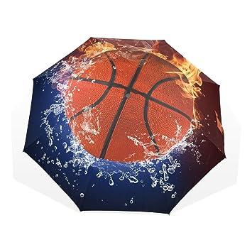 Paraguas Personalizar 3 Pliegues Baloncesto Fuego Agua A Prueba de ...