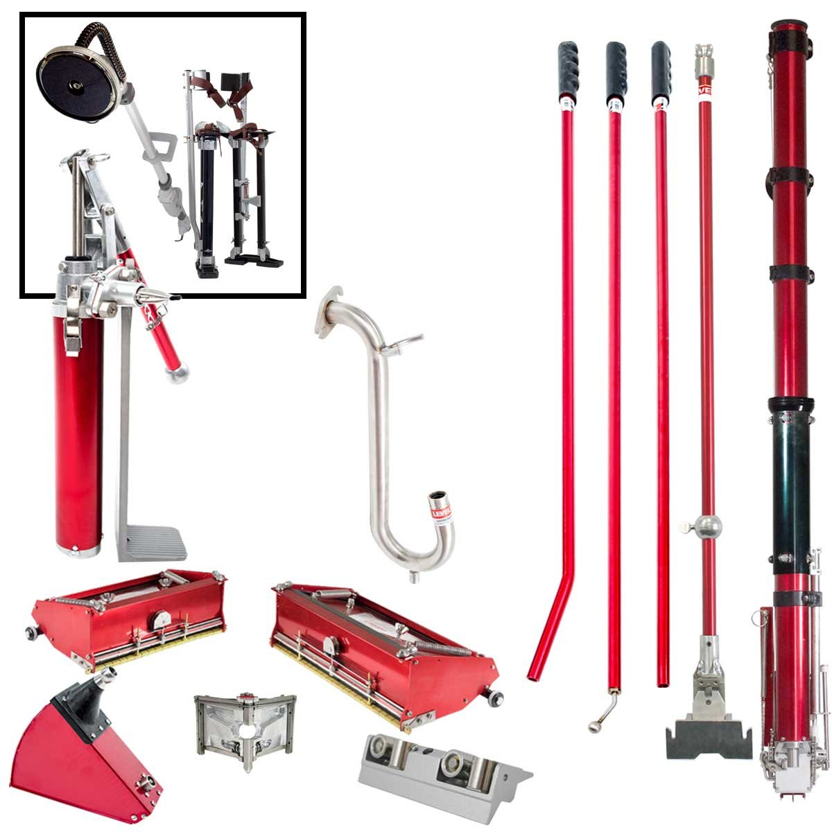 Level5 Full Drywall Taping and Finishing Tool Set with FREE STILTS and 9'' Disc POWER SANDER by Level5
