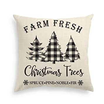 AVOIN Buffalo Plaid Christmas Trees Pillow Cover, 18 x 18 Inch Winter Holiday Linen Cushion Case Decoration for Sofa Couch