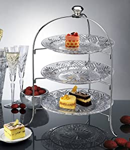 3 Tier Round Serving Platter, Three Tiered Cake Tray Stand, Food Server Display Plate Rack, Crystal Clear, with Silver Stand, Dessert Server Stand/Cupcake Tower/Appetizer Serving Tray