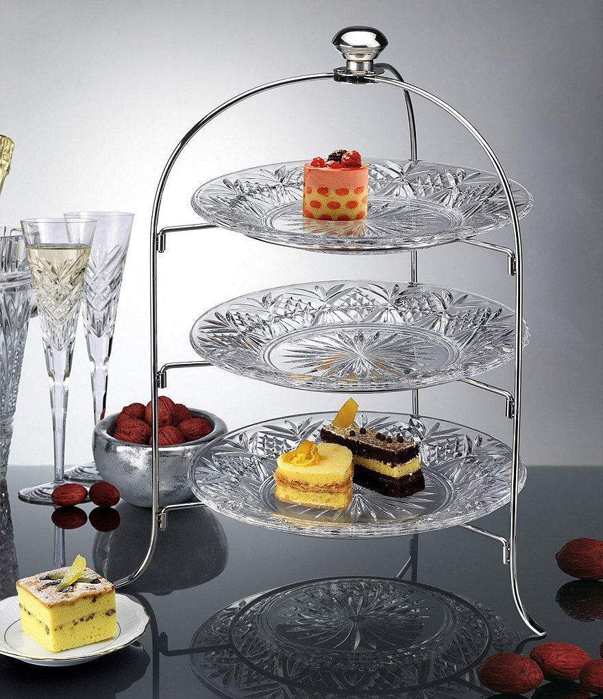 Three Plate Display Cake, Fruit, Snack Server. Dessert Server Stand/Cupcake Tower/Appetizer Serving Tray (3 Tiered Round)