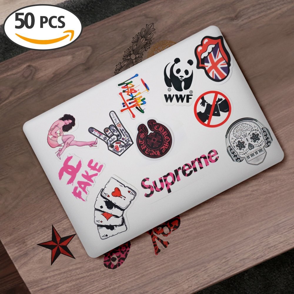 Laptop Stickers [50 Pcs], Breezypals Clear Stickers Luggage Decal Graffiti Guitar Skateboard Vinyl Stickers For Laptop  No Duplicate Sticker Pack … by Breezypals