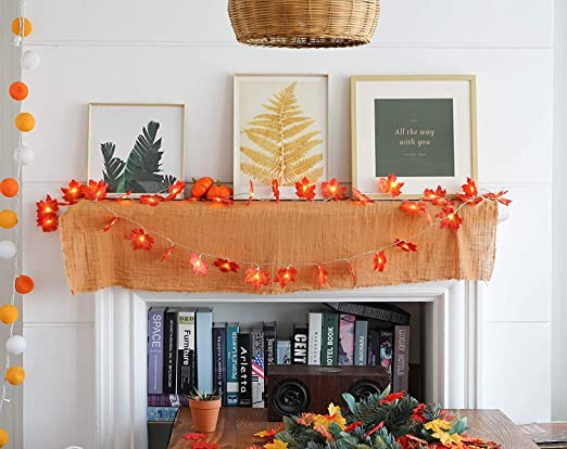 Home Decor Thanksgiving Christmas Arespark Fall Maple Leaf Garland Maple Leaves Fairy Lights Waterproof Maple Leaf