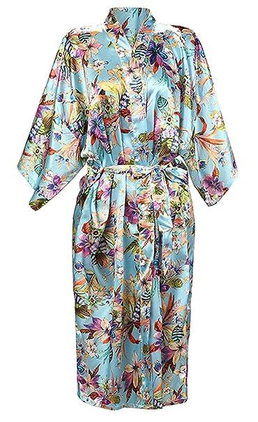ECHERY Mujeres Flores de Satén de Lujo Albornoz Kimono Batas Batas Pijamas Ropa de Dormir de Largo: Amazon.es: Ropa y accesorios
