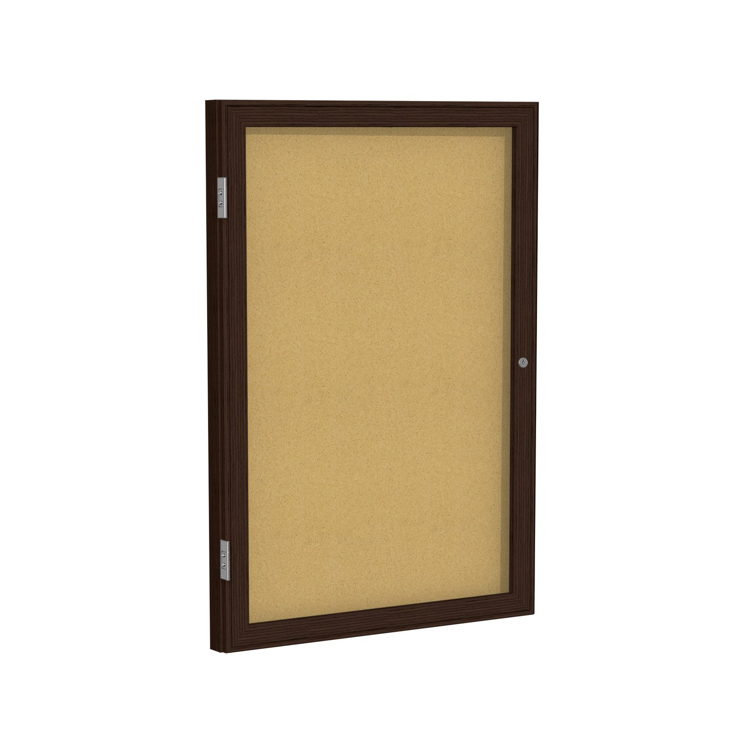 Case of 8, 36''x24'' 1-Dr Wood Frame Walnut Finish Enclosed Bulletin Board - Natural Cork