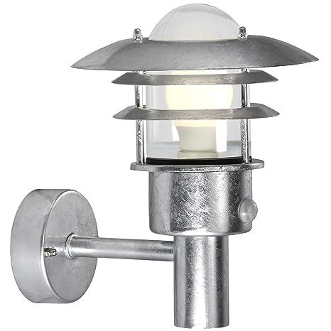 Nordlux Lonstrup - Farol, acabado de acero galvanizado, sensor de movimiento infrarrojo