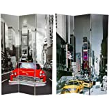Oriental Furniture 6 ft. Tall New York City Taxi Double Sided Room Divider