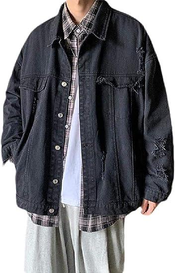 Mens Vintage Cotton Button Down Distressed Solid Denim Trucker Jacket Coat