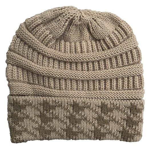 123764d44 Lmtime Women Winter Warm Cotton Cap Stitching Outdoor Hats Crochet ...