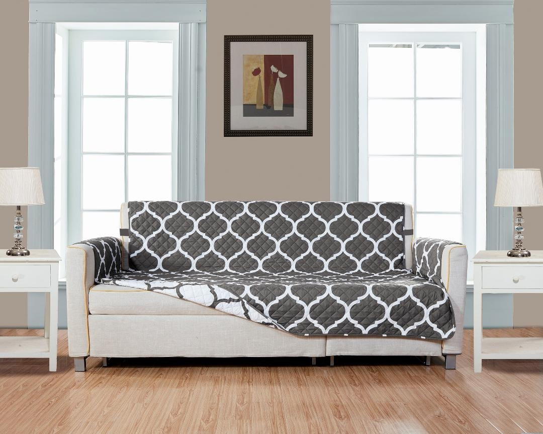 GrandLinen Reversible Large Couch Cover 118'' X 76''-Furniture Protector for Pets, Kids, Dogs-Large Sofa, Standard Sofa, Loveseat, Recliner and Chair (Extra Wide Sofa-Grey/White Quatrefoil)