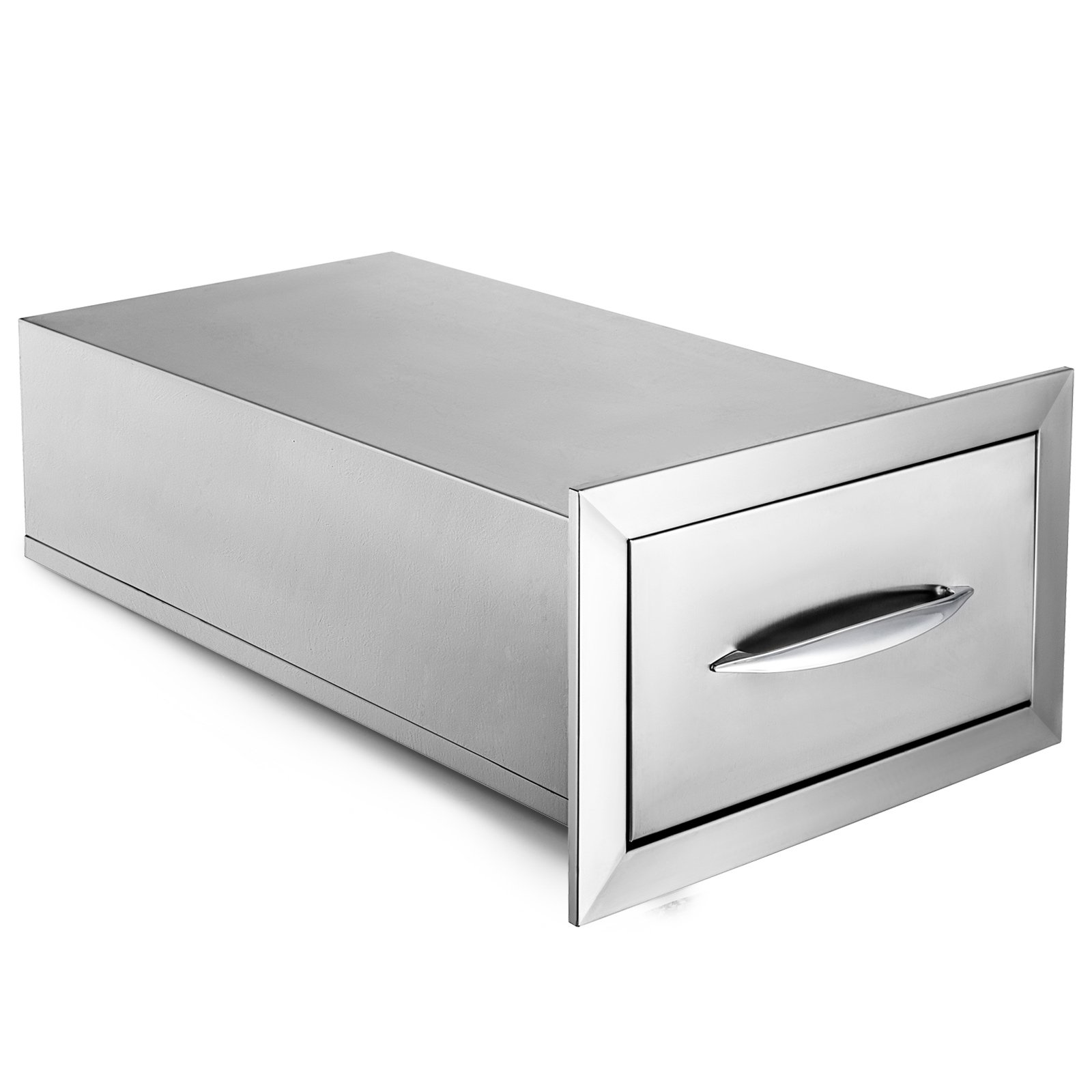 Mophorn 14'' x 8.5'' Outdoor Kitchen Drawer Stainless Steel BBQ Storage with Chrome Handle Flush Mount Sliver, 14 x 8.5 x 23 Inch, Access