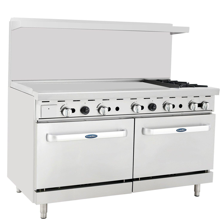 ATOSA US CookRite Commercial Liquid Propane Range 2 Burner Hotplates With 48'' Manual Griddle 2 Standard Ovens 60'' - 202000 BTU