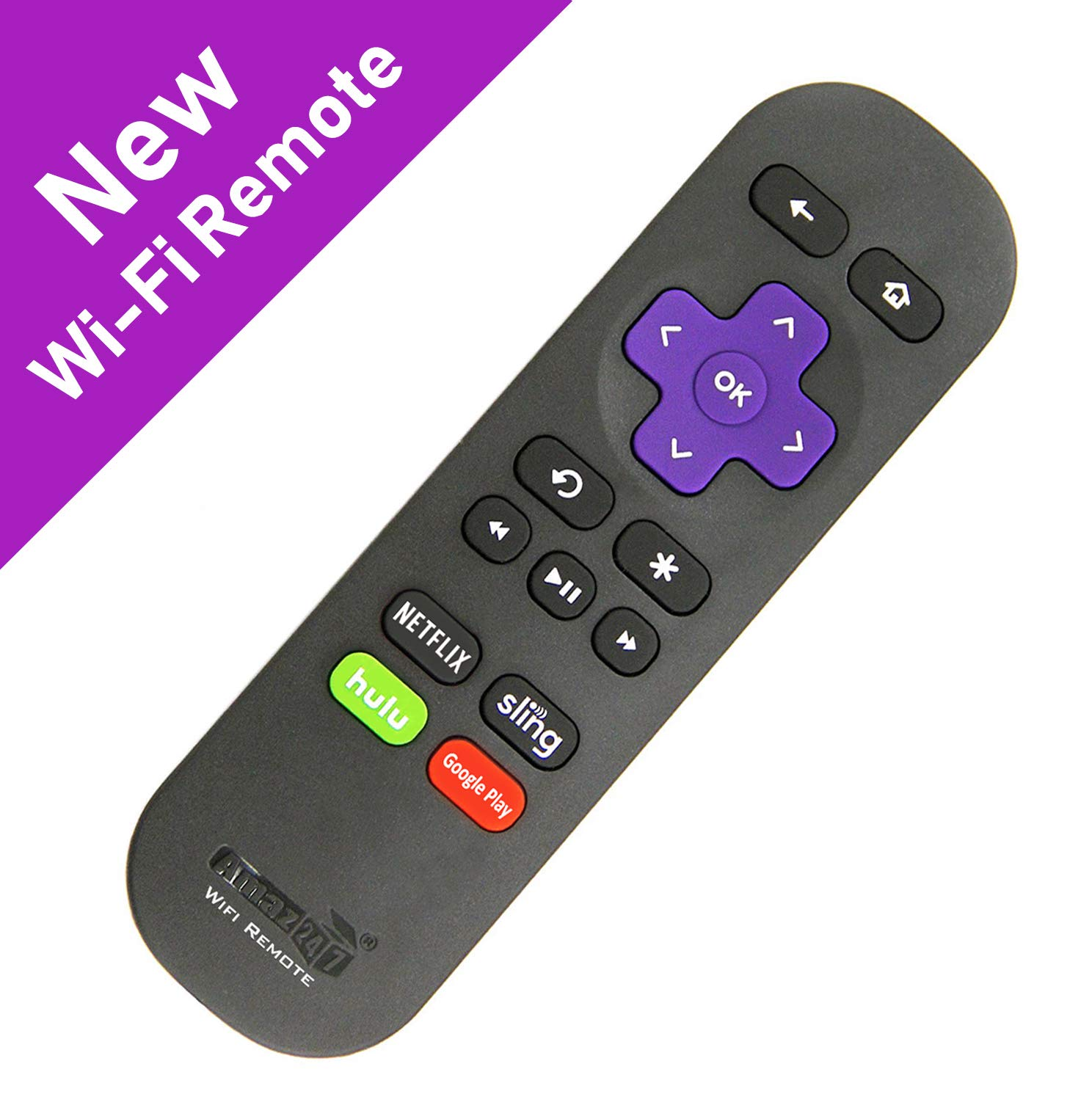 Amaz247 Point-Anywhere Wi-Fi Remote Pairing with Roku Stick, Stick+, Roku Premiere, Premiere+, Roku Ultra, Roku 2,3,4; Replace Roku Stick Remote RC80 by Amaz247