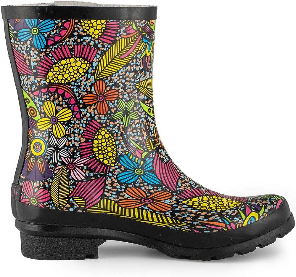 Women Ladies Mid Calf Short Rubber Rain Garden Boots Wide Calf Waterproof Floral