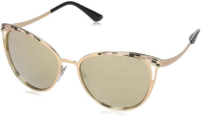 Bulgari BVLGARI Damen Sonnenbrille 0BV6083 20145A, Gold (Pink Gold/Lightbrownmirrordarkgold), 56