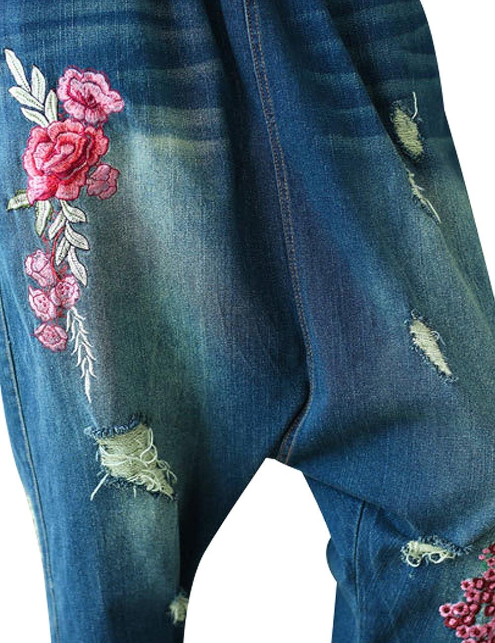 Youlee Donna Estate Patchwork Harem Pantaloni Distrutto Jeans Pantaloni a Gamba Larga
